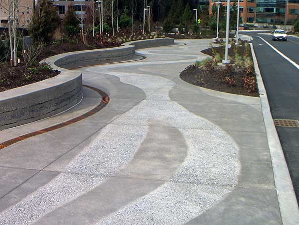 Architectural concrete, decorative concrete, Lithocrete, Bomanite, sedimentary walls by Belarde Company, Seattle, Washington