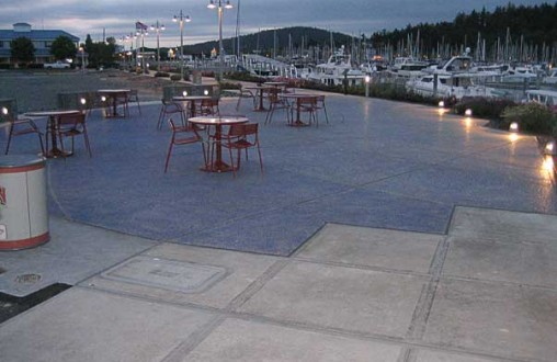 Architectural concrete, Decorative concrete, Lithocrete hand seeded fading blue aggregate by Belarde Company Seattle, Washington