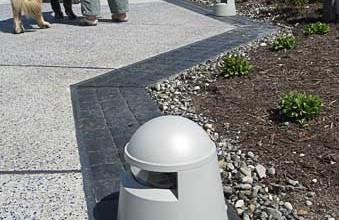 Architectural concrete, Decorative concrete, Lithocrete hand seeded fading blue aggregate by Belarde Company Seattle, Washington