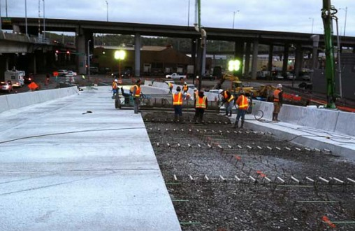 PCC concrete paving, Belarde Company, sidewalks, curbs and gutters, Seattle, East Marginal Way Grade Separation Project
