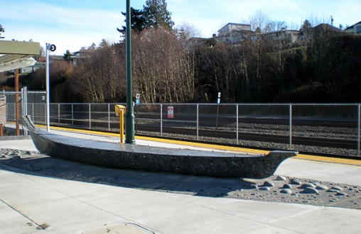 Decorative concrete Mukilteo North Platform - Site concrete, ADA ramps, hand seeded aggregates, embedded river rock, by Belarde Company  - Seattle, Washington