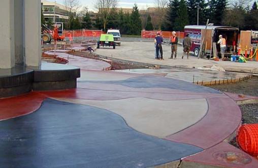 Overlake Transit Center, decorative concrete,  architectural concrete, colored concrete, stained concrete, Belarde Company, Seattle