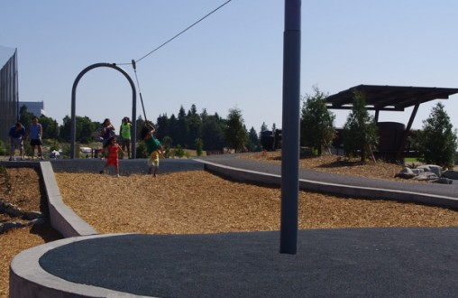 Decorative concrete, Architectural concrete,  Lithocrete concrete, spray park, splash pad, pervious concrete, by Belarde Company, Beacon Mountain Park, Seattle, Washington
