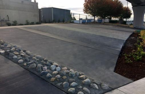 Sound Transit South 200th Link Extension, Angle Lake Station, Decorative walls, stamped concrete, architectural concrete, sidewalks, curbs and gutters, ADA ramps, PCC concrete paving, colored concrete, Bomanite, Lithocrete