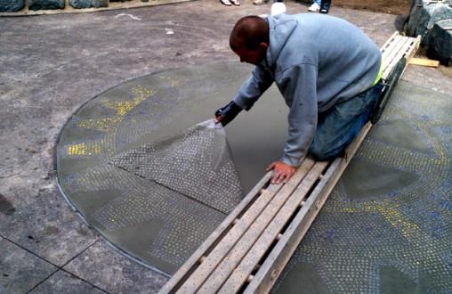 Decorative concrete, architectural concrete, Lithocrete, Enger Park, Rotary, Lithomosaic, Belarde Company, Seattle