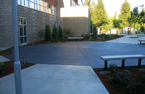 Lithocrete, decorative concrete, Bothell High School Performing Arts Center, architectural concrete, Belarde Company