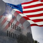 Photo Ilustration of Veteran's Day or Memorial Day With United States Flag flying overheard and reflected in monument.