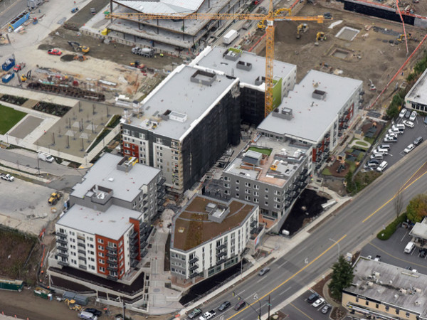 Sparc apartment complex in Bellevue's Spring District; developer: Spring District Residential, 1227 124th Ave NE, Bellevue, WA 98005; Security Properties; architect: GGLO; general contractor: Walsh Construction