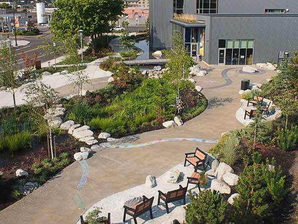 The East Bay Public Plaza architectural concrete project in Olympia, Washington was awarded to the Belarde Company.