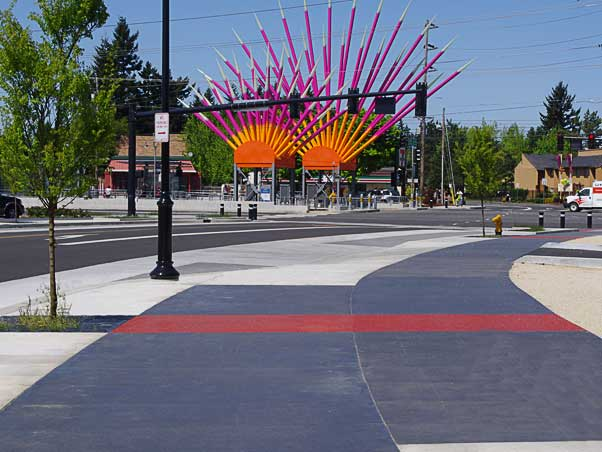 The NE Burnside Improvements architectural concrete project in Gresham, Oregon was awarded to Seattle concrete contractor the Belarde Company.