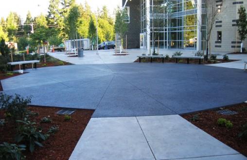 Lithocrete, decorative concrete, Bothell High School Performing Arts Center, architectural concrete, Belarde Company
