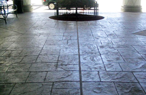 Bomanite imprinted site concrete Bomanite concrete utilizing English Slate imprint system with Atlantic Gray color accents throughout by Belarde Company